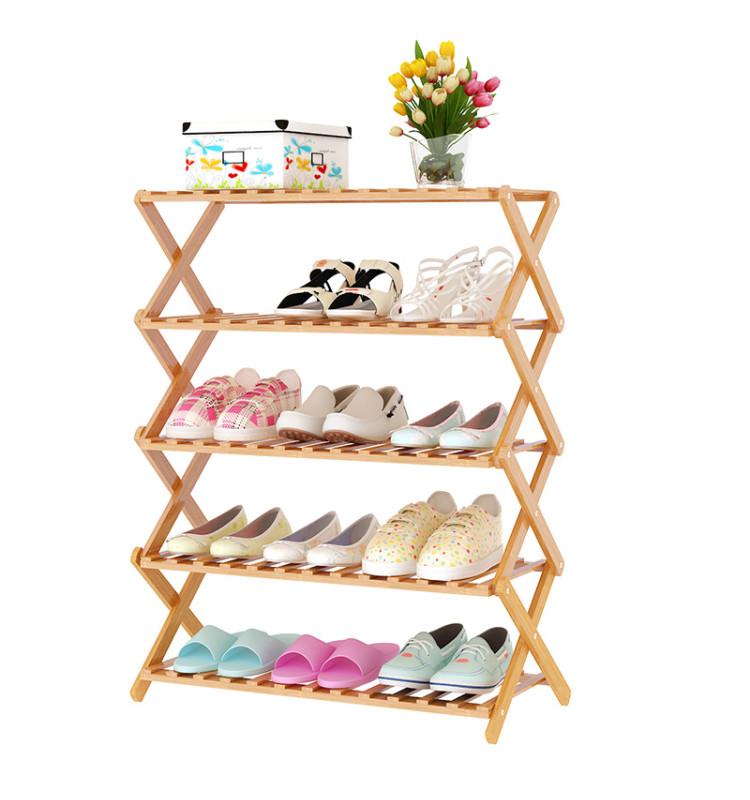 家世比 楠竹鞋架鞋柜折叠鞋架多层简易鞋架子防尘收纳实木拖鞋架